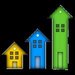 Image de trois maisons en forme de flèche qui exprime la croissance de l'immobillier.