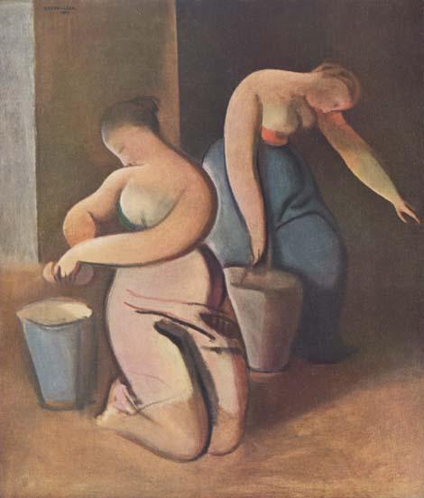 On voit deux femmes lavent es planchers