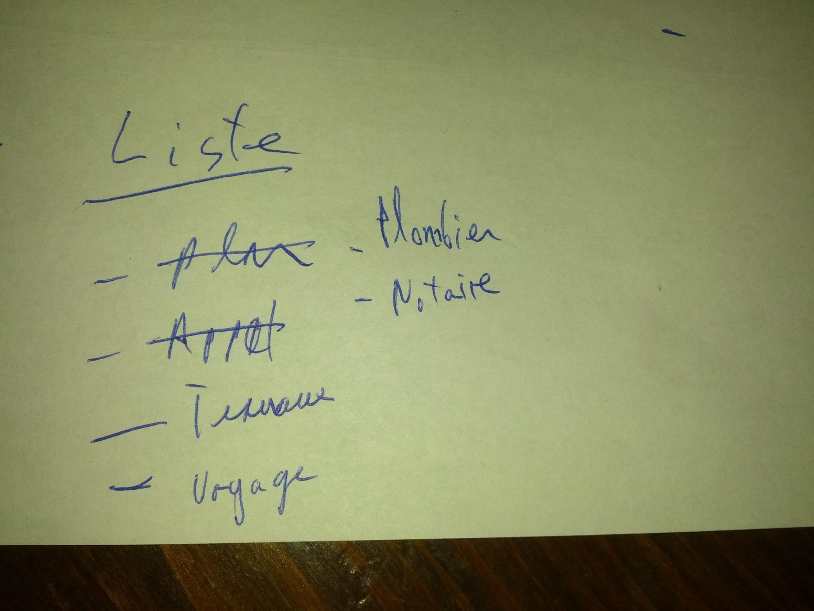 Feuille avec un e liste de tâches pour un projet